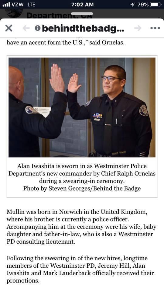 new Westminster Police Department Animal Control Commander Alan Iwashita
