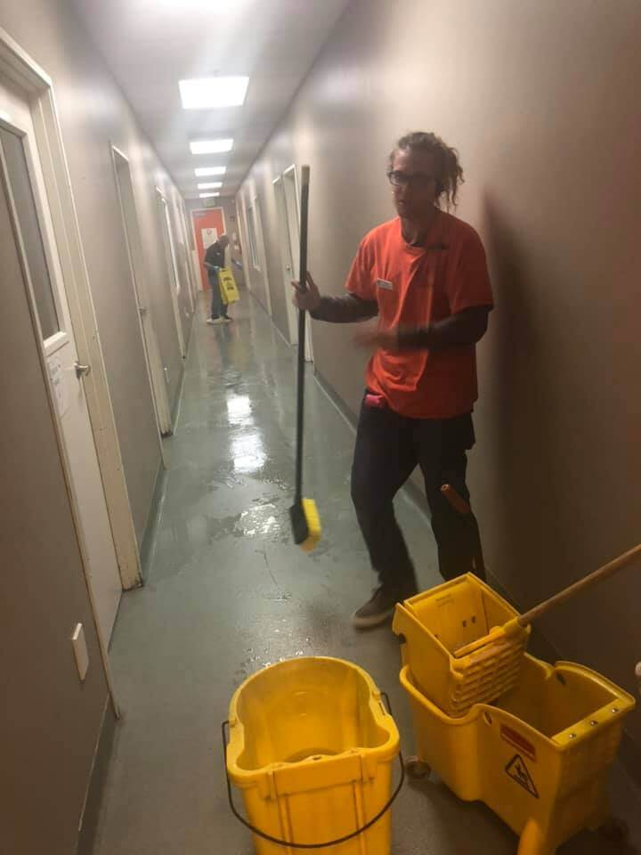 WAGS staff cleaning