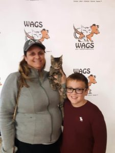 mother and son adopt a cat WAGS