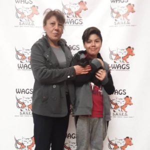 mother and son adopted black cat WAGS