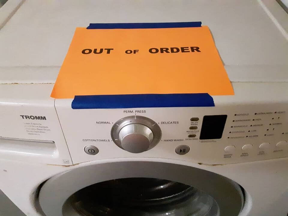 out of order washing machine