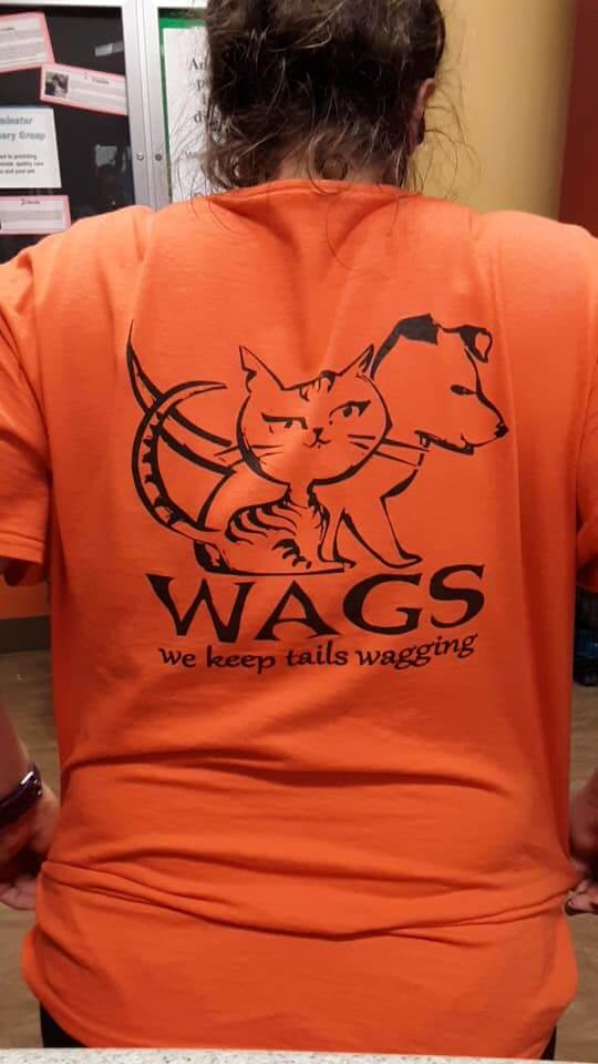 wags shirt back view logo keep tails wagging