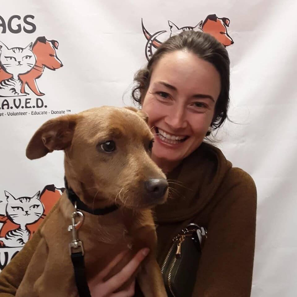 women wearing brown sweater adopts brown dog